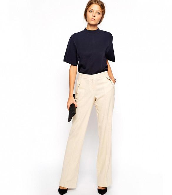 Spodnie z wysokim stanem sprawią, że twoje nogi będą dłuższe, szczególnie kiedy do szerokich spodni, długie do ziemi założysz wysokie obcasy.