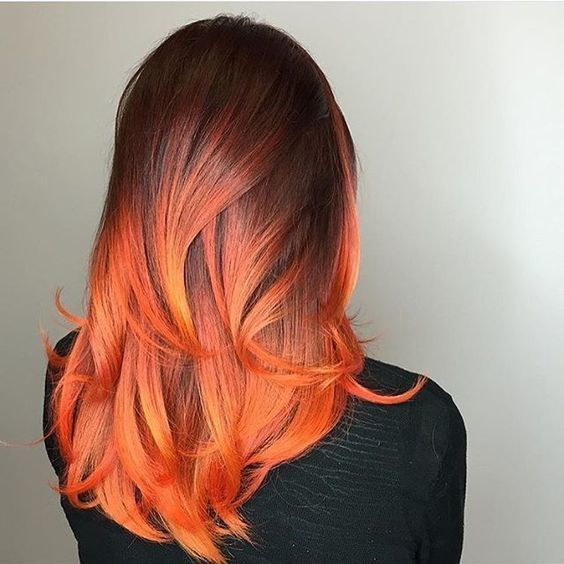 Brown orange ombre hair
