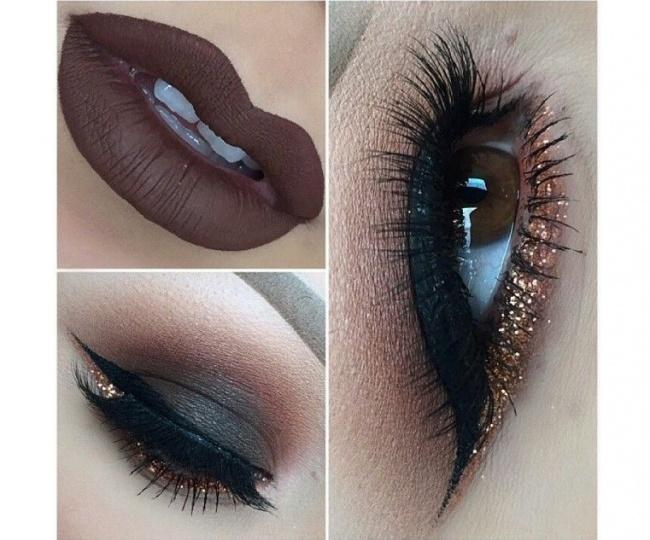 Brązowy Makijaż Oczu Zmysłowy Smoky Eyes I Złota Kreska Absolutnie